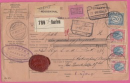"""BULLETIN D'EXPEDITION/PAKETKARTE """"VALEUR DÉCLARÉE"""" VON DER FIRMA DROSTE ,CHOKOLADE,CACAO,IN HARLEM NACH ANTWERPEN,1923. - Strafportzegels"""