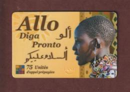 Carte De Téléphone  De 75 Unités D' Appel Prépayées - ALLO DIGA PRONTO - 2 Scannes. - Unknown Origin