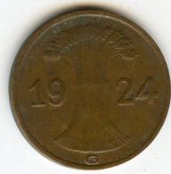 Allemagne Germany 1 Reichspfennig 1924 G J 313 KM 37 - [ 3] 1918-1933 : Repubblica Di Weimar