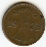 Allemagne Germany 1 Reichspfennig 1925 G J 313 KM 37 - [ 3] 1918-1933 : Weimar Republic