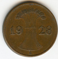 Allemagne Germany 1 Reichspfennig 1928 A J 313 KM 37 - 1 Rentenpfennig & 1 Reichspfennig