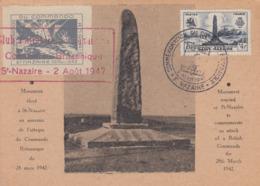Carte  Maximum   1er  Jour   FRANCE   COMMANDO   BRITANNIQUE     SAINT  NAZAIRE    1947 - Cartoline Maximum