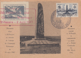 Carte  Maximum   1er  Jour   FRANCE   COMMANDO   BRITANNIQUE     SAINT  NAZAIRE    1947 - Cartes-Maximum
