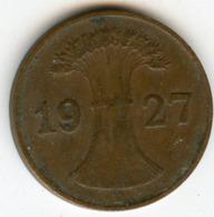 Allemagne Germany 1 Reichspfennig 1927 D J 313 KM 37 - [ 3] 1918-1933 : Weimar Republic