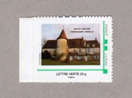 Timbre Personnalisé Autoadhésif Neuf 20g Lettre Verte - Pays De Lapalisse Château Gadin (Servilly, Allier 03) - France