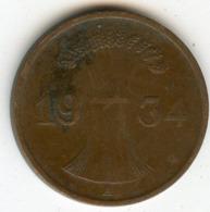 Allemagne Germany 1 Reichspfennig 1934 A J 313 KM 37 - 1 Reichspfennig