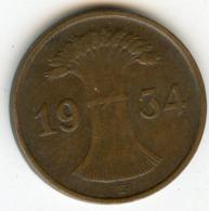 Allemagne Germany 1 Reichspfennig 1934 E J 313 KM 37 - 1 Reichspfennig