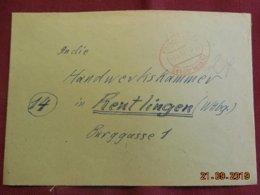 Lettre De 1947 De Ebingen Wurth Pour Reutlingen - Zone Anglo-Américaine