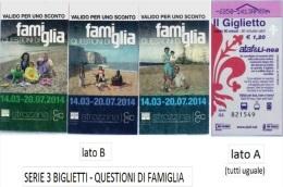 """SERIE 3 BIGLIETTI BUS USATI """"QUESTIONI DI FAMIGLIA"""" FIRENZE ATAF - Europa"""