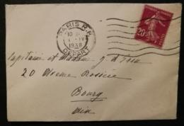 Enveloppe Avec Cachet Paris R.P. Départ - Marcophilie (Lettres)