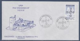 = UPEP 7-8 Nov 87 Phil'Vincennes87 Enveloppe 7-8.11.87 Timbre 2478 Complément Au Verso, Le Manoir Des Capétiens - Marcophilie (Lettres)