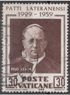 Vaticano 1959 Uf. 260  Patti Lateranensi - Papa Pio XI Pope Usato Used Laterano - Storia