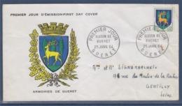 = Armoiries De Guéret, Blason, Enveloppe 1er Jour 25 Janvier 1964 Timbre 1351B - 1960-1969