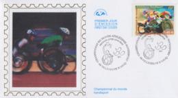 Enveloppe  FDC   1er Jour    FRANCE   Championnat  Du  Monde  D' Athlétisme    Handisport    VILLENEUVE  D' ASCQ    2002 - Handisport