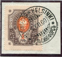 FINLAND 1891 Arms Of Russia With Circles 1 Ruble Used On Piece.  Michel 45 - 1856-1917 Russian Government