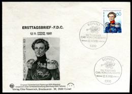 07619) BRD - Mi 1115 - FDC - 60Pf                  Carl Von Clausewitz - FDC: Buste