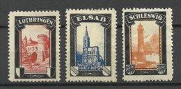 Germany Reich Elsass & Lothringen & Schleswig Poster Stamps Vignetten * - Vignetten (Erinnophilie)