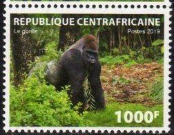 CENTRAL AFRICAN REPUBLIC, CAR, 2019, MNH, FAUNA, GORILLAS, PRIMATES, 1v - Gorillas