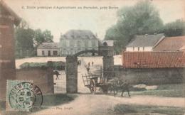 80 Cottenchy Ecole Pratique D' Agriculture Au Paraclet Cpa Carte Animée Colorisée Cachet 1906 - Autres Communes