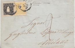 230 - 31 Marzo 1860 - Involucro Senza Testo Da Vicenza A Milano Con 2 Soldi Giallo Vivo E 3 Soldi Nero 2° Tipo - Lombardo-Veneto