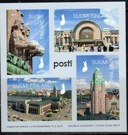 FINLAND, 2019, MNH, HELSINKI MAIN STATION, ARCHITECTURE, TRAINS, SHEETLET - Trains