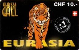 SUIZA. PREPAID. Eurasia, Tiger - Tigre. CH-PRE-CCAN-13B. (007) - Tarjetas Telefónicas
