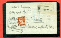 STORIA POSTALE-RACCOMANDATA DA CHERSO-POLA - PER BOZZOLO - 1900-44 Victor Emmanuel III