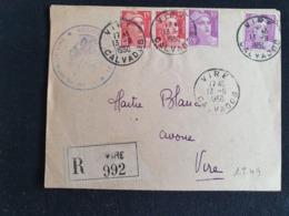 Recommandé VIRE - 13 Septembre 1950 - Gandon YT 813 811 - Calvados - Marcophilie (Lettres)