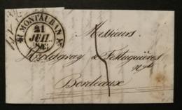 Tarn Et Garonne.Lettre Avec Cachet Type 12 De Montauban.Pour Bordeaux - 1801-1848: Précurseurs XIX