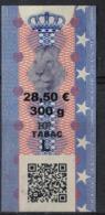 Luxembourg Timbre Taxe Tabac Pot De 300 Grammes Couronne Et Lion - Tabac (objets Liés)