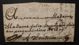 Haute Garonne.Lettre Avec Marque 30 BOULOIGNE (36*11).Pour Toulouse - 1801-1848: Précurseurs XIX