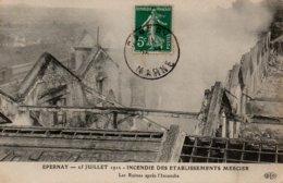 CPA 51 EPERNAY 25 JUILLET 1912 INCENDIE DES ETABLISSEMENTS MERCIER Les Ruines Après L'Incendie - Epernay