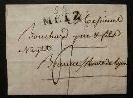 Moselle.Lettre Avec Marque 55 METZ (31*14).Pour Beaune - 1801-1848: Précurseurs XIX