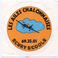 AUTOCOLLANT LES AILES CHALONNAIS ECURY S/COOLE AVION - Pegatinas