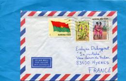 MARCOPHILIE-Lettre- BURKINA FASO>France Cad  1990-3-stamps-N°640 Drapeau+804- Plante Parasite-*culture - Burkina Faso (1984-...)