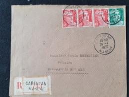 Recommandé CARENTAN - 28 Janvier 1950 - Manche - Gandon YT 813 809 - Marcophilie (Lettres)