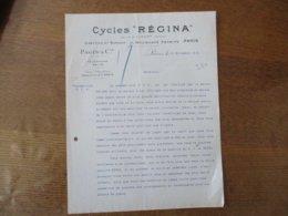 """CYCLES """"REGINA"""" USINE A ALBERT SOMME PAGIS & Cie PARIS 11 BOULEVARD PEREIRE COURRIER DU 11 NOVEMBRE 1912 - 1900 – 1949"""
