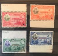 HONDURAS 1937 Set Of 4v Birds Condor Presidential Commemoration With Specimen Ovpt And Pinch Hole MNH - Birds