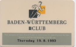 Carte De Casino ? Probablement Non : Baden Württemberg Club : Le 19/08/1993 - Cartes De Casino