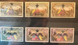 ECUADOR 1945 Set Of 6v Eagle And Condor Overprinted Loor A Chile And Star MNH - Birds