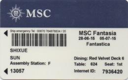 Carte De Croisière : MSC Fantasia 2015 - Autres Collections