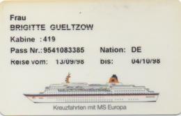 Carte De Croisière : MS Europa 1998 - Autres