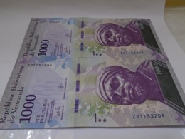 Venezuela, 1000 Pesos 2017, Replacement, Consecutive, Crisp UNC, Beautiful Bill About Animals. - Venezuela