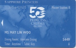 Carte De Croisière : Princess Cruises 50ème Anniversaire : Sapphire Princess Est.1965-2015 - Autres Collections