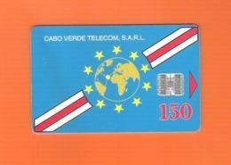 "PHONECARD - CABO VERDE CV6a ""BANDEIRA NATIONAL"" 150U - USED - Cap Vert"