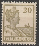 Curacao 1915-1926 Wilhelmina 20 Ct Olijf NVPH 63 MNH**/Postfrisch - Curaçao, Nederlandse Antillen, Aruba