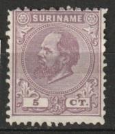 Suriname 1873-1889 Koning Willem III 5 Ct. (12,5:12) MH* NVPH 5C - Suriname ... - 1975