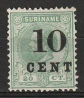 Suriname 1898 Wilhelmina 10ct On 20ct.  NVPH 31 Ongestempeld Met Plakker - Hinged - Suriname ... - 1975