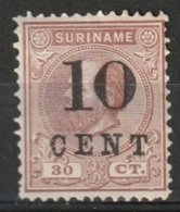 Suriname 1898 Wilhelmina 10ct On 30ct.  NVPH 33 MH* - Suriname ... - 1975