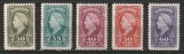 Suriname 1945 Wilhelmina. 30, 35, 40, 50, 60ct NVPH 234-238 Ongestempeld. Cat € 70,-See Description. - Suriname ... - 1975